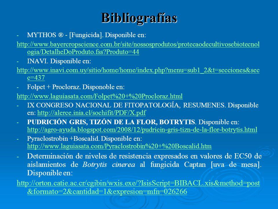 Bibliografías MYTHOS ® - [Fungicida]. Disponible en: